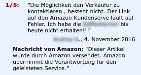 Amazon übernimmt Verantwortung für schlechte Bewertung.